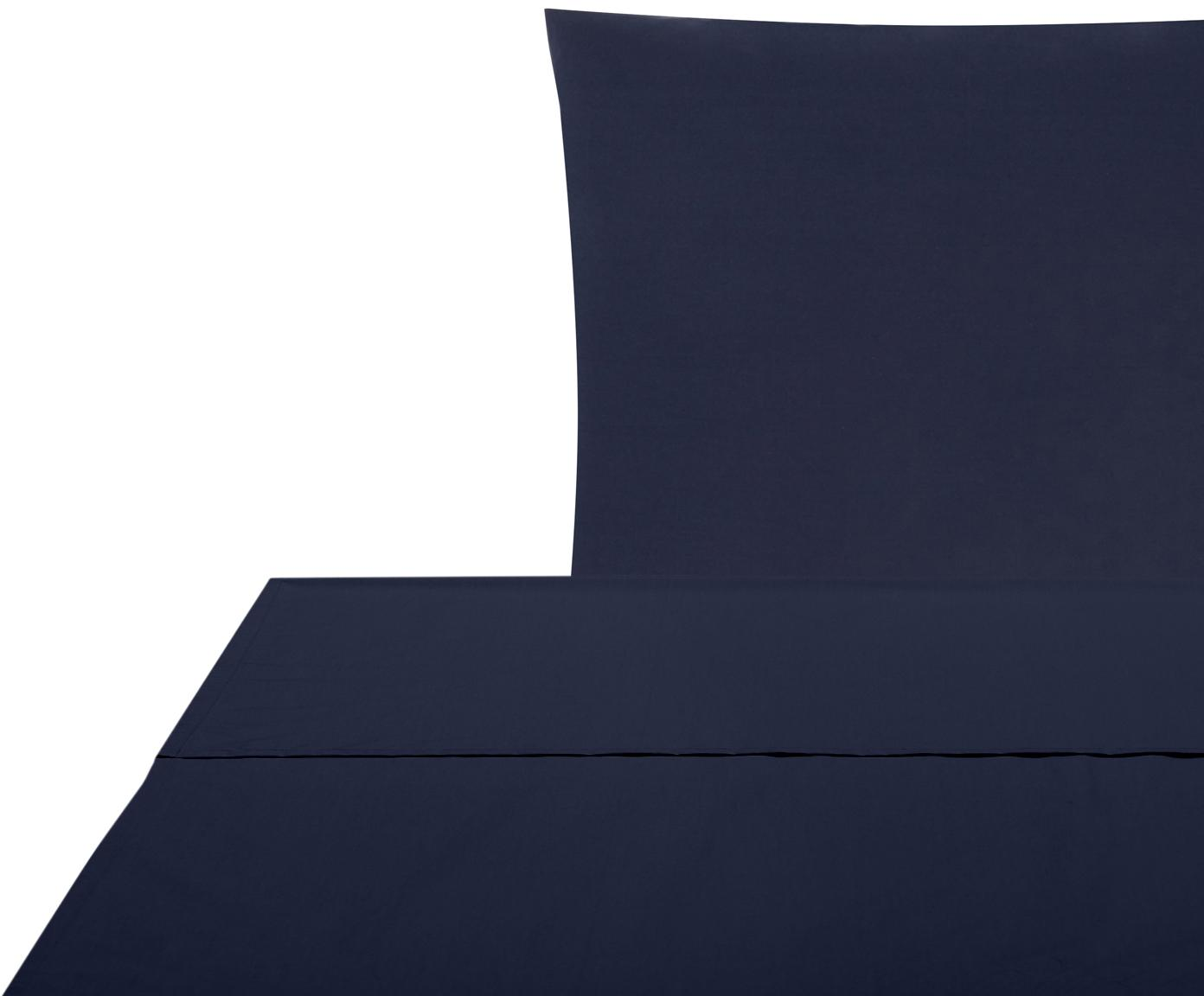 Set lenzuola in percalle Elsie 2 pz, Tessuto: percalle Densità del filo, Blu scuro, 150 x 300 cm