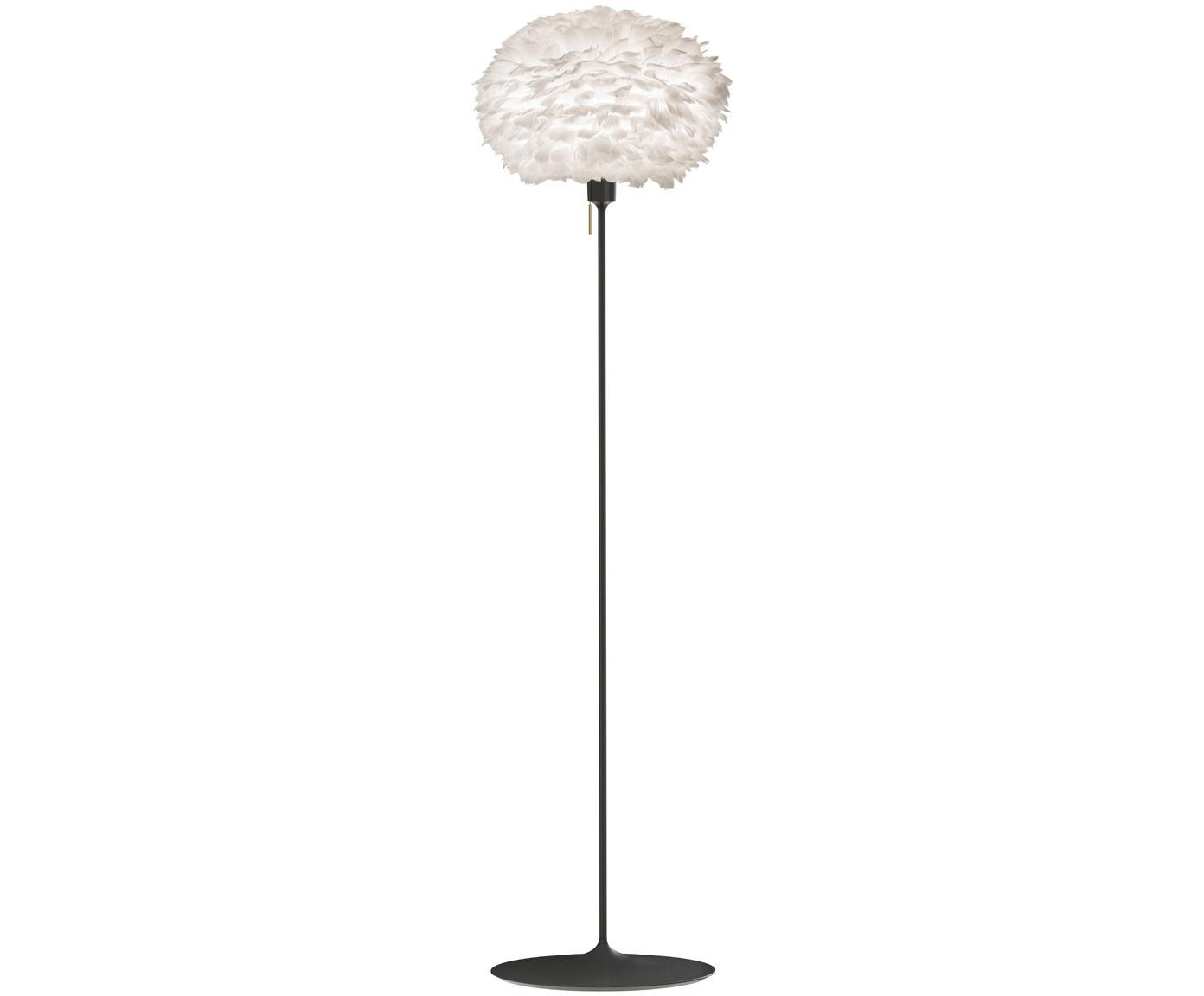 Stehlampe Eos aus Federn, Lampenschirm: Gänsefedern, Stahl, Sockel: Stahl, lackiert, Weiss, Schwarz, Ø 45 x H 170 cm