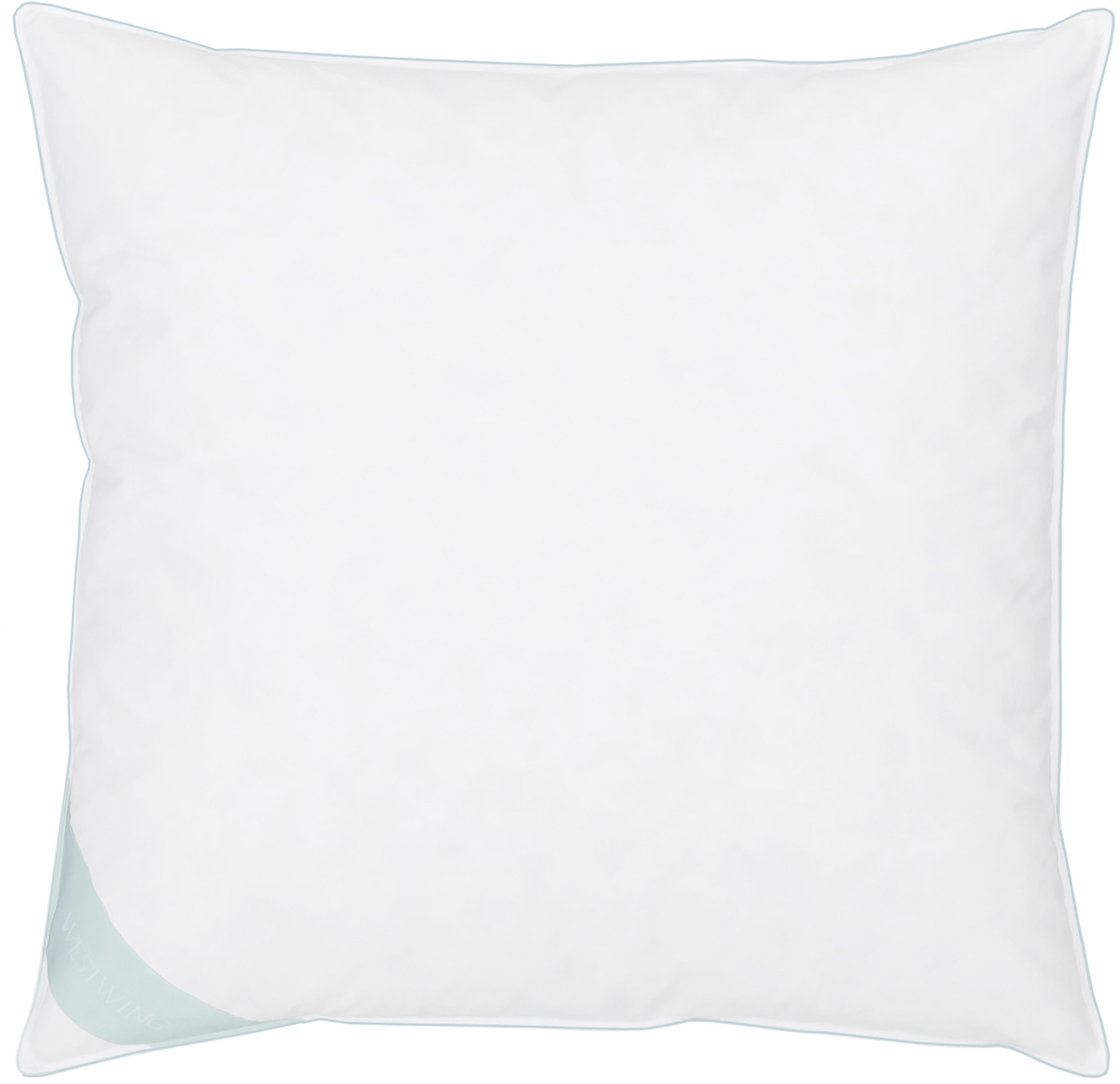 Feder-Kopfkissen Comfort, mittel, Hülle: 100% Baumwolle, Mako-Köpe, Weiß mit türkiser Satinbiese, 80 x 80 cm