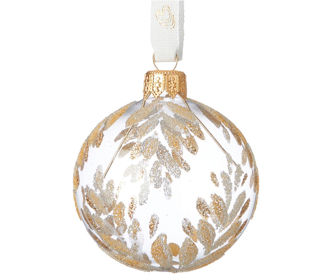 Kerstballen Cadelia, 2 stuks, Transparant, goudkleurig, Ø 6 x H 6 cm