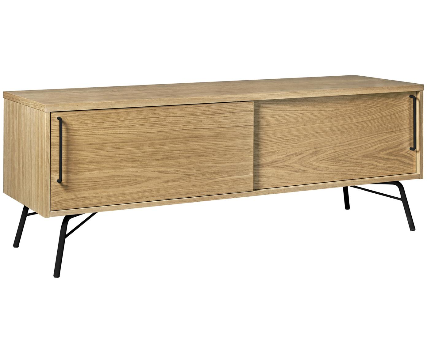 Tv-meubel Ashburn met eikenhoutfineer, Frame: spaanplaat, eikenfineer, Frame: eikenkleurig. Poten en handgrepen: mat zwart, 145 x 53 cm