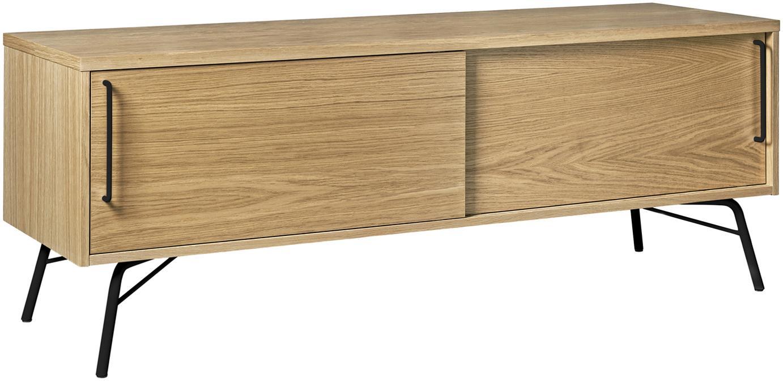 TV-Lowboard Ashburn mit Eichenholzfurnier, Korpus: Spanplatte, Eichenfurnier, Korpus: Eiche<br>Beine und Griffe: Schwarz, matt, 145 x 53 cm