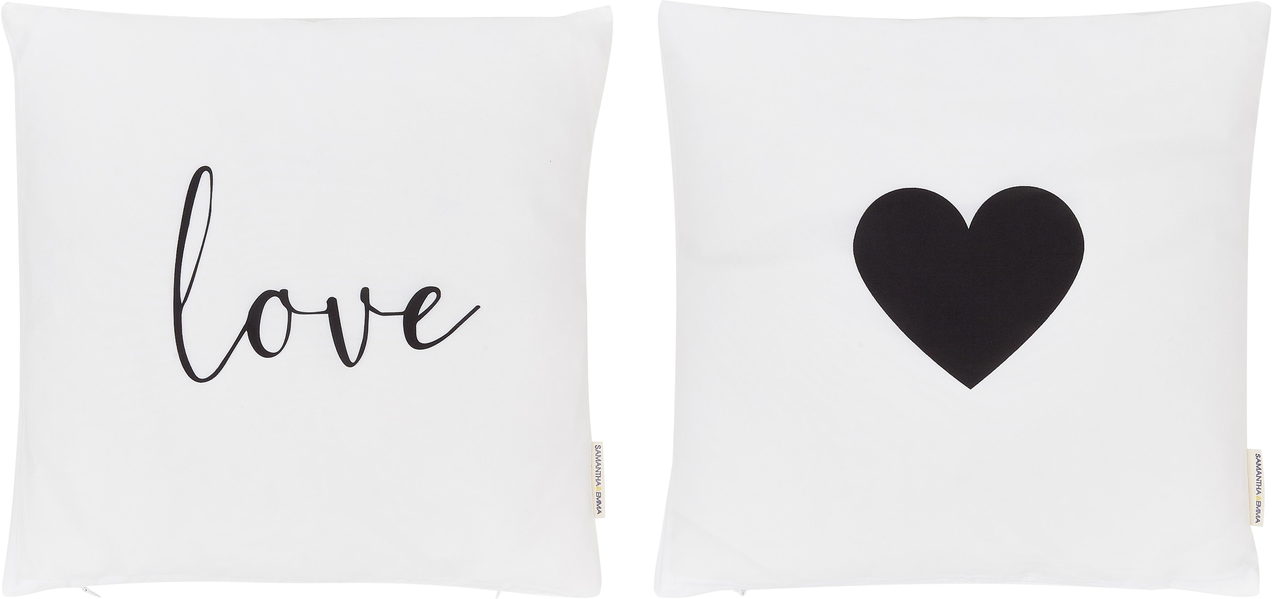Kissenhüllen Love in Schwarz/Weiß, 2er-Set, 100% Polyester, Schwarz, Weiß, 40 x 40 cm