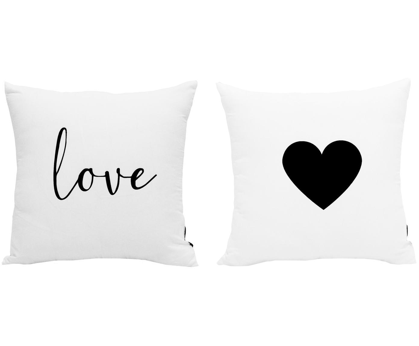 Set de fundas de cojín Love, 2pzas., 100%poliéster, Negro, blanco, An 40 x L 40 cm