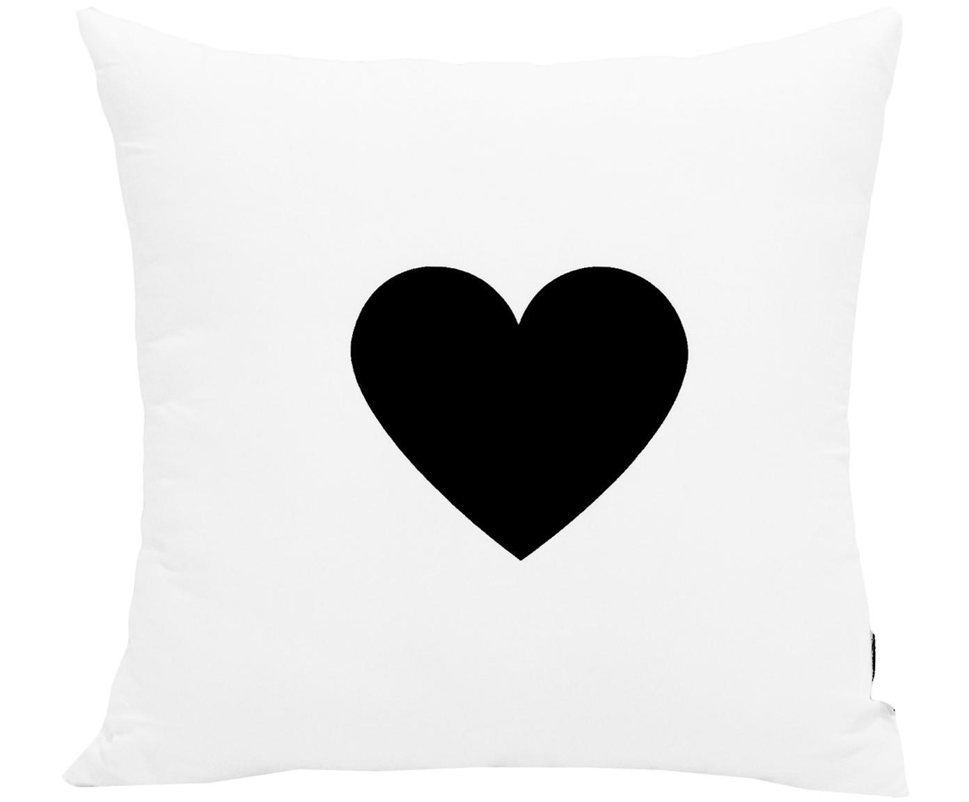 Komplet poszewek Love, 2 elem., 100% poliester, Czarny, biały, S 40 x D 40 cm