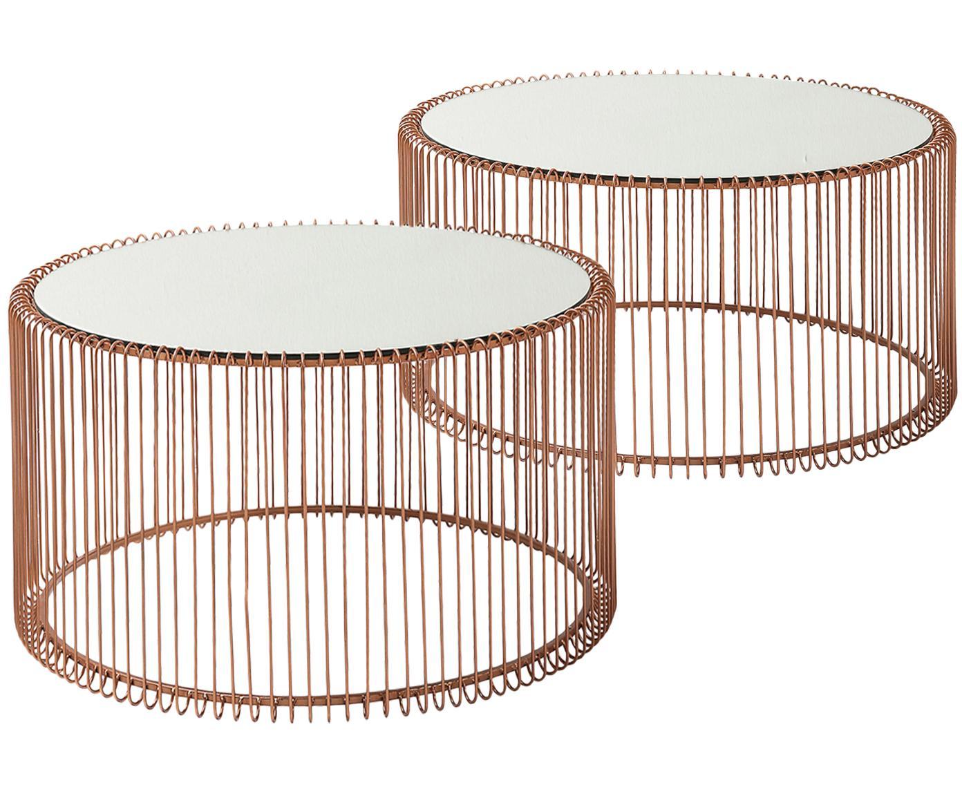 Komplet stolików kawowych z metalu ze szklanym blatem Wire, 2 elem., Stelaż: metal malowany proszkowo, Blat: szkło hartowane foliowane, Miedź, Różne rozmiary