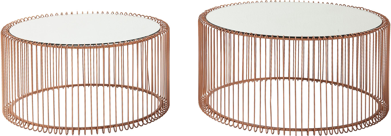 Set de mesas de centro en metalWire, 2pzas., tablero de cristal, Estructura: metal con pintura en polv, Tablero: vidrio de seguridad lamin, Cobre, Set de diferentes tamaños