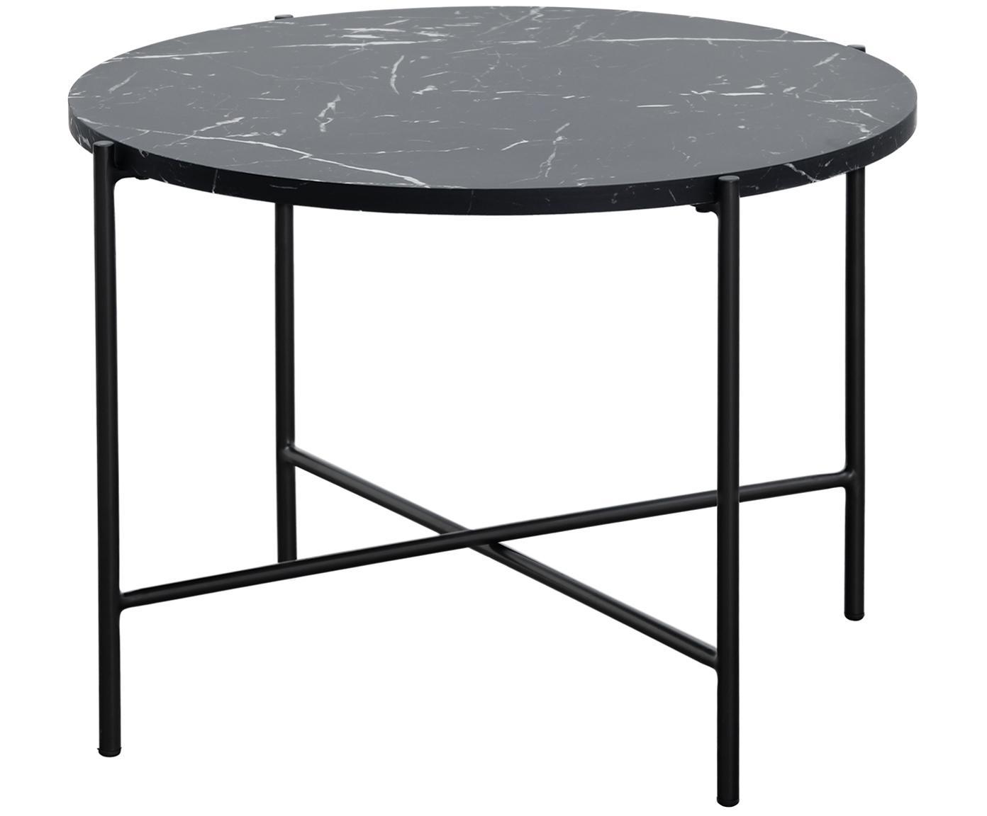 Salontafel Fria, Tafelblad: MDF, gecoat met gelakt pa, Frame: gepoedercoat metaal, Tafelblad: mat zwart, gemarmerd. Frame: mat zwart, Ø 60 x H 43 cm