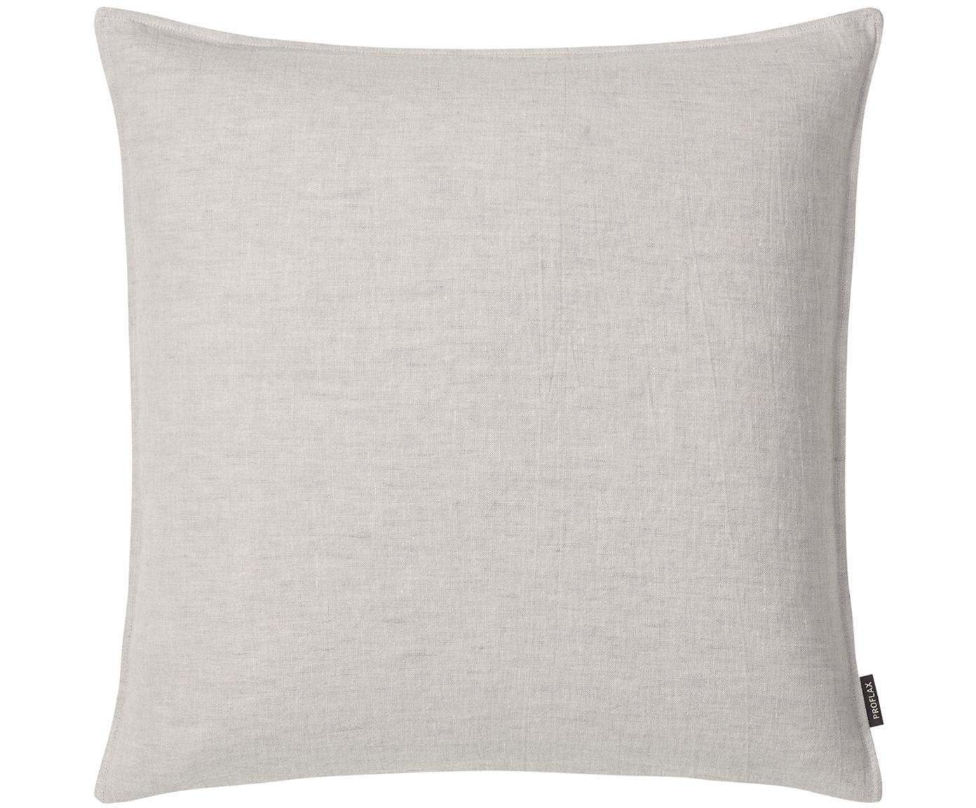 Poszewka na poduszkę z lnu z efektem sprania Sven, Len, Srebrny, szary, S 50 x D 50 cm