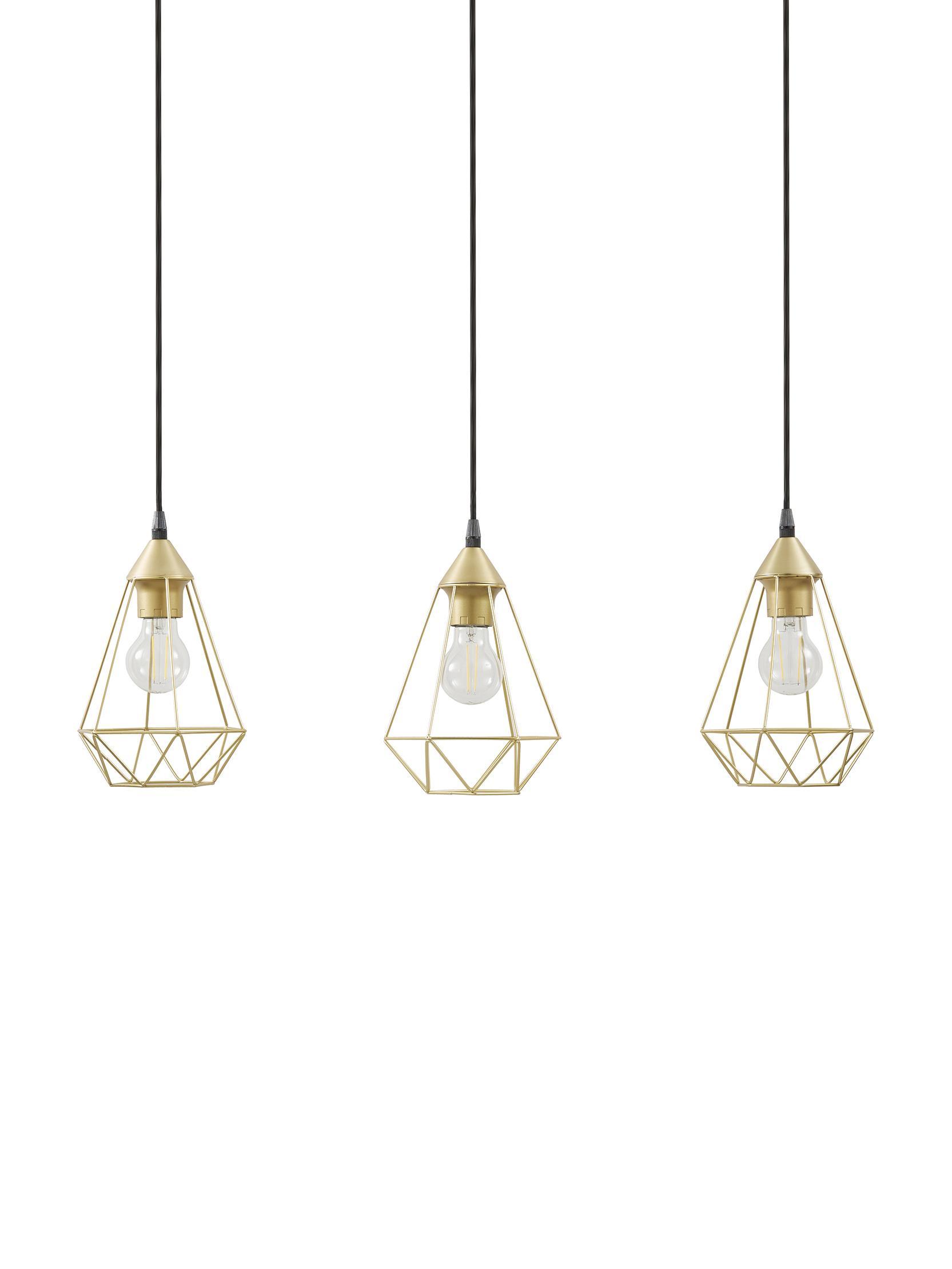 Hanglamp Kyle, Baldakijn: geborsteld metaal, Goudkleurig, 80 x 100 cm