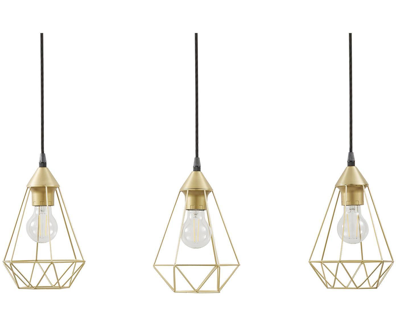 Lámpara de techo Kyle, Anclaje: metal cepillado, Cable: cubierto en tela, Dorado, An 80 x Al 100 cm