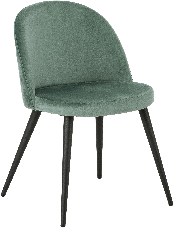 Krzesło tapicerowane z aksamitu  Amy, 2 szt., Tapicerka: aksamit (poliester) 2500, Nogi: metal malowany proszkowo, Turkusowy, S 47 x G 55 cm