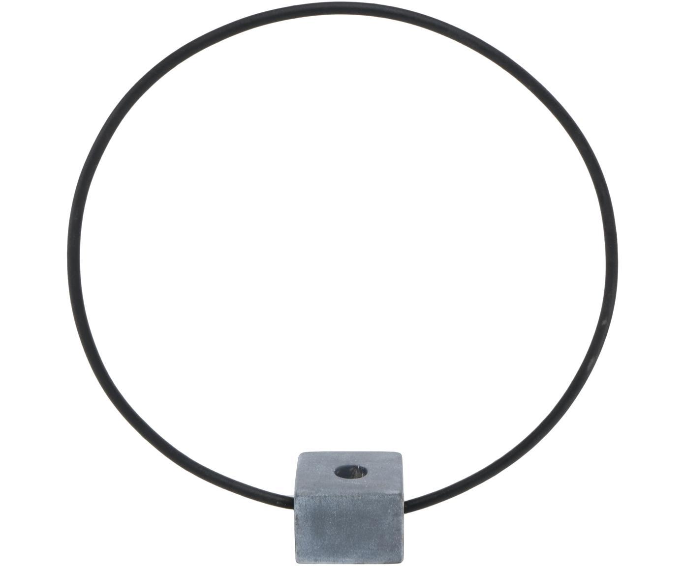 Kerzenhalter Congo, Metall, Stein, Schwarz, Grau, Ø 38 cm