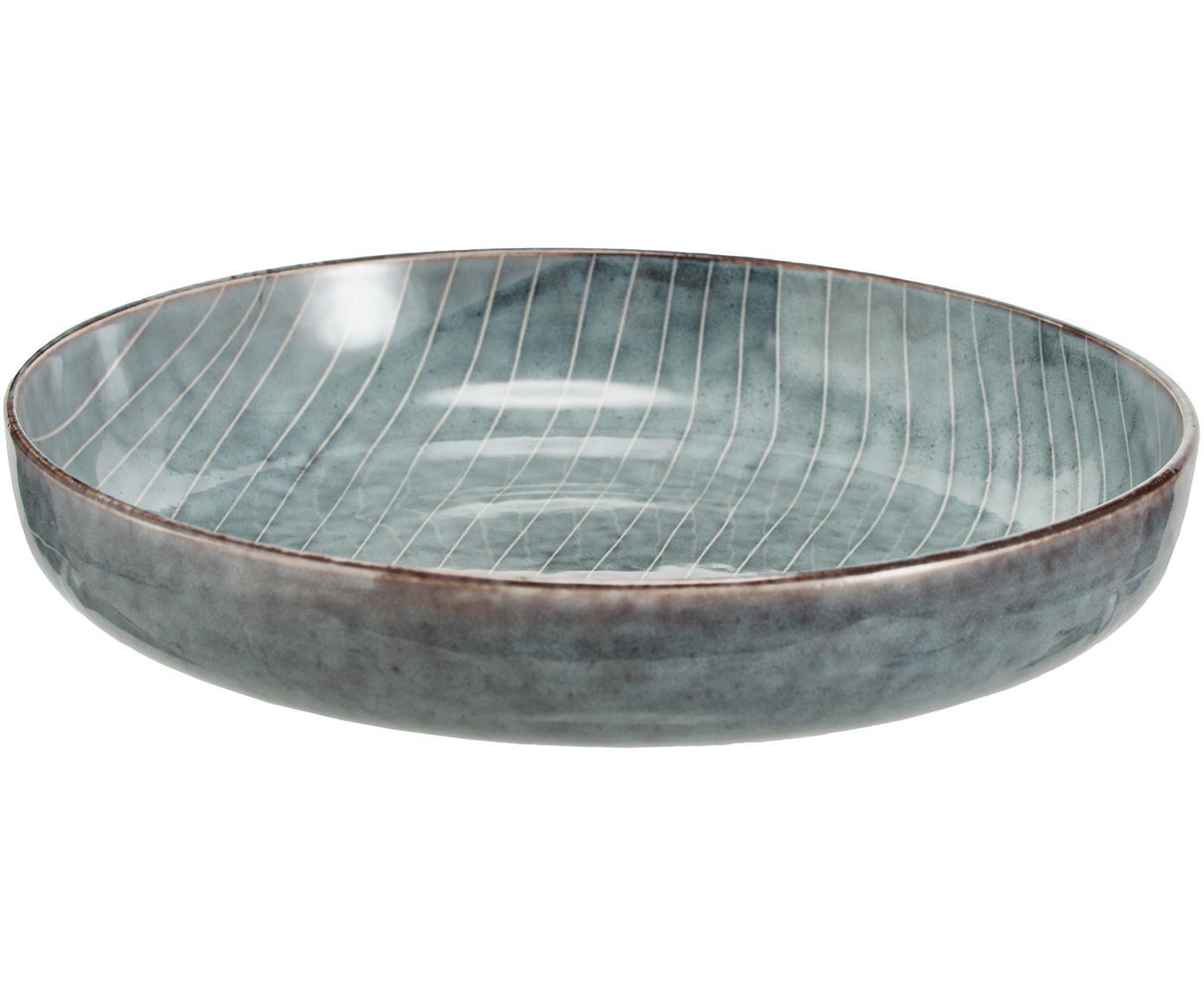 Ręcznie wykonana miska Nordic Sea, 4 szt., Kamionka, Szary i odcienie niebieskiego, Ø 22 x W 5 cm