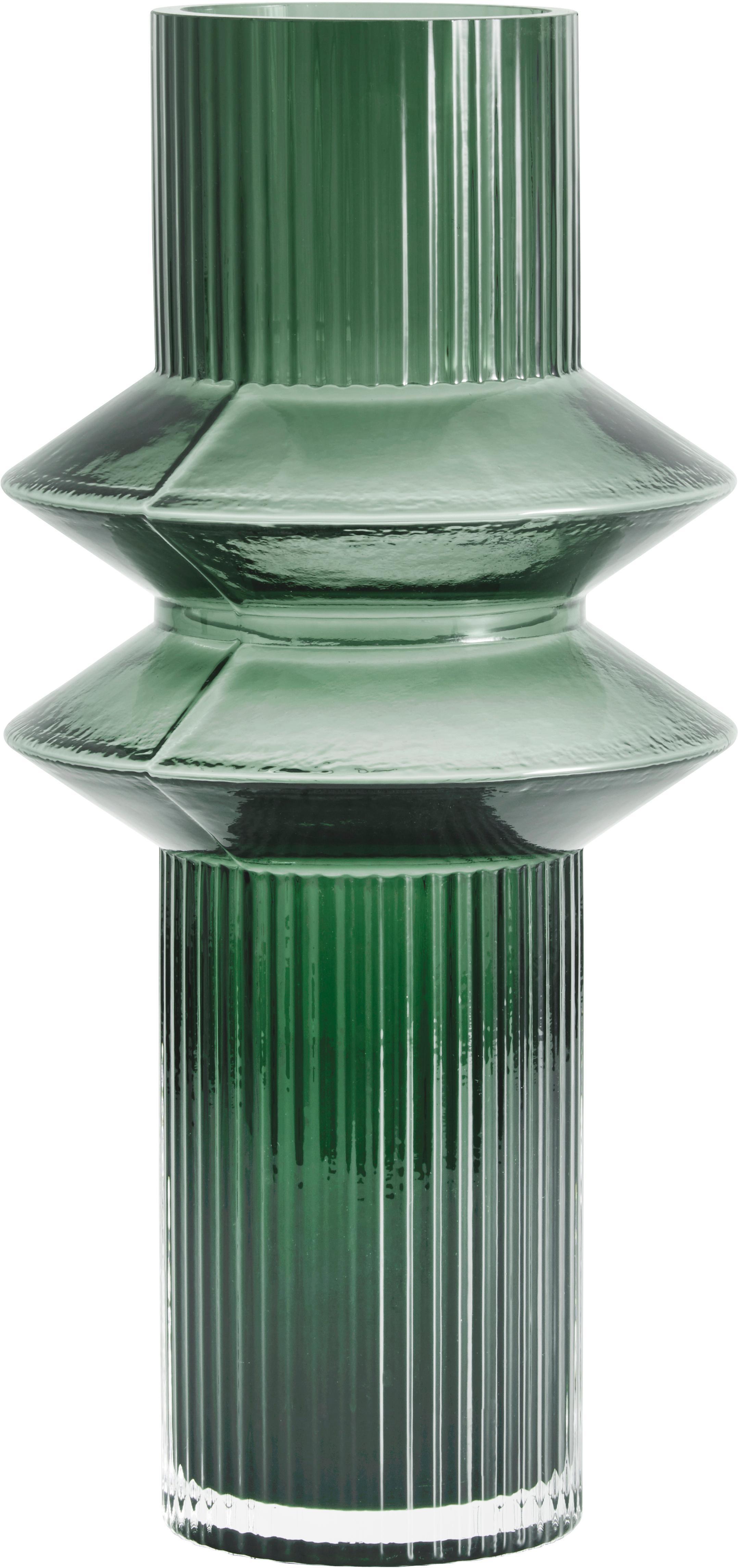 Grote glazen vaas Rilla, Glas, Groen, Ø 9 x H 32 cm