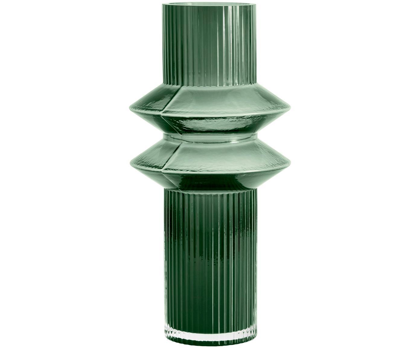 Grosse Glas-Vase Rilla, Glas, Grün, Ø 9 x H 32 cm