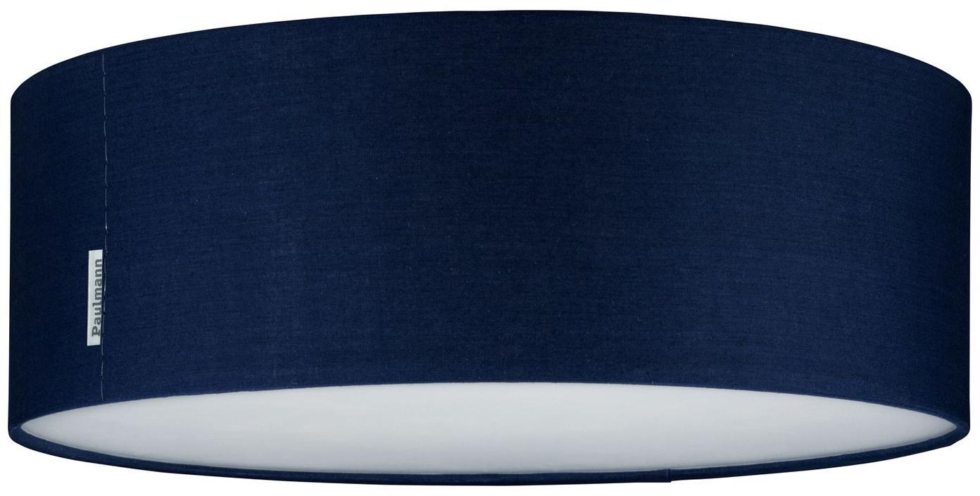 Plafondlamp Mari in donkerblauw, Lampenkap: polyester, Diffuser: kunststof, Donkerblauw, Ø 38 x H 13 cm