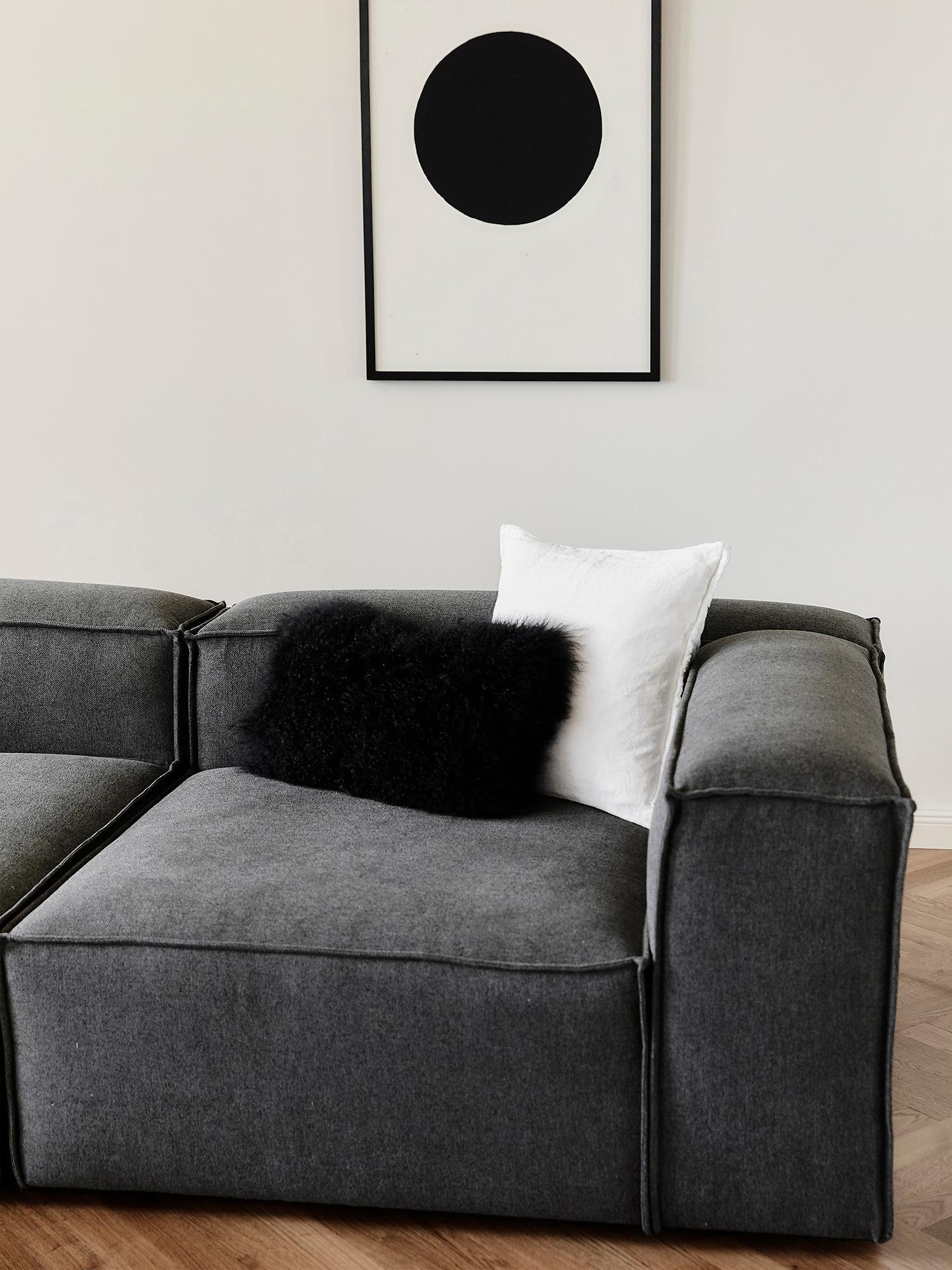 Modulare Ottomane Lennon, Bezug: Polyester 35.000 Scheuert, Gestell: Massives Kiefernholz, Spe, Füße: Kunststoff, Webstoff Anthrazit, B 269 x T 119 cm