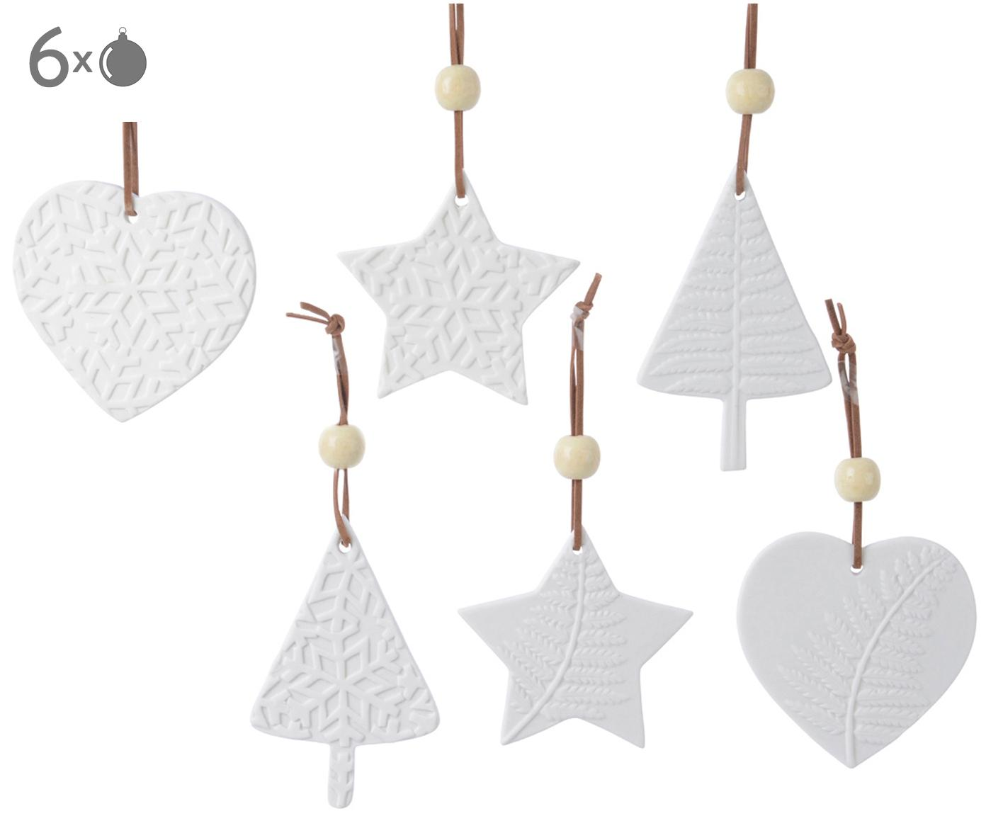 Set ciondoli Joy, 6 pz., Bianco, Larg. 8 x Alt. 8 cm