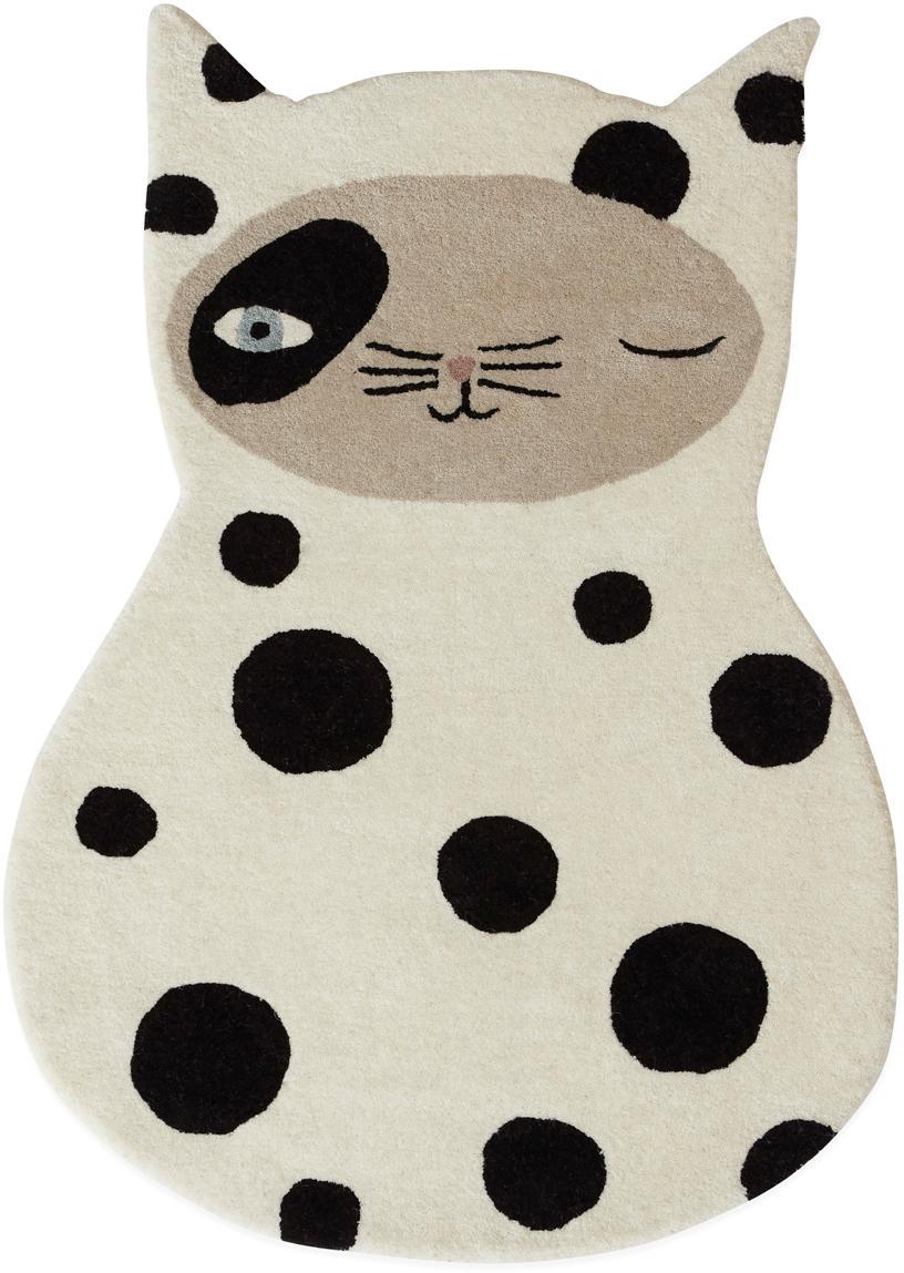 Wollteppich Zorro Cat, 80% Wolle, 20% Baumwolle, Gebrochenes Weiss, Schwarz, Beige, Blau, 64 x 93 cm
