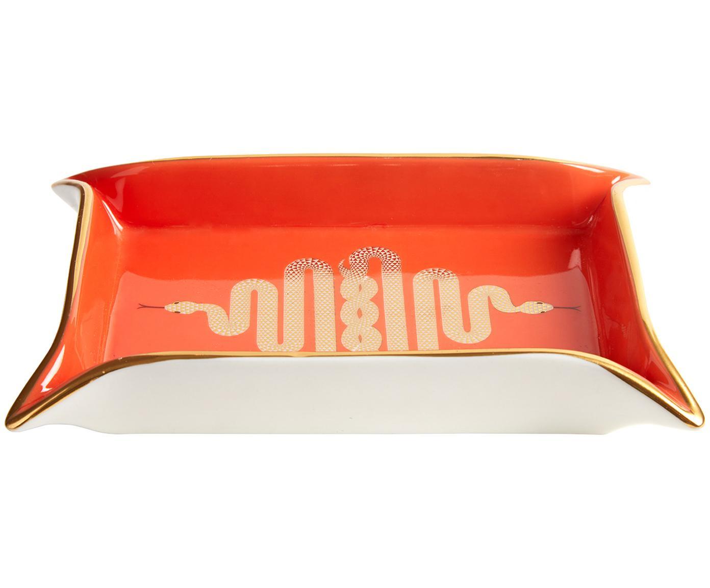 Miska Snake, Porcelana, pozłacane akcenty, Wewnątrz: pomarańczowy, złoty<br>Na zewnątrz: biały, 18 x 13 cm