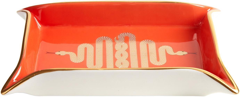Miska z porcelany Snake, Porcelana, pozłacane akcenty, Wewnątrz: pomarańczowy, złoty<br>Na zewnątrz: biały, 18 x 13 cm