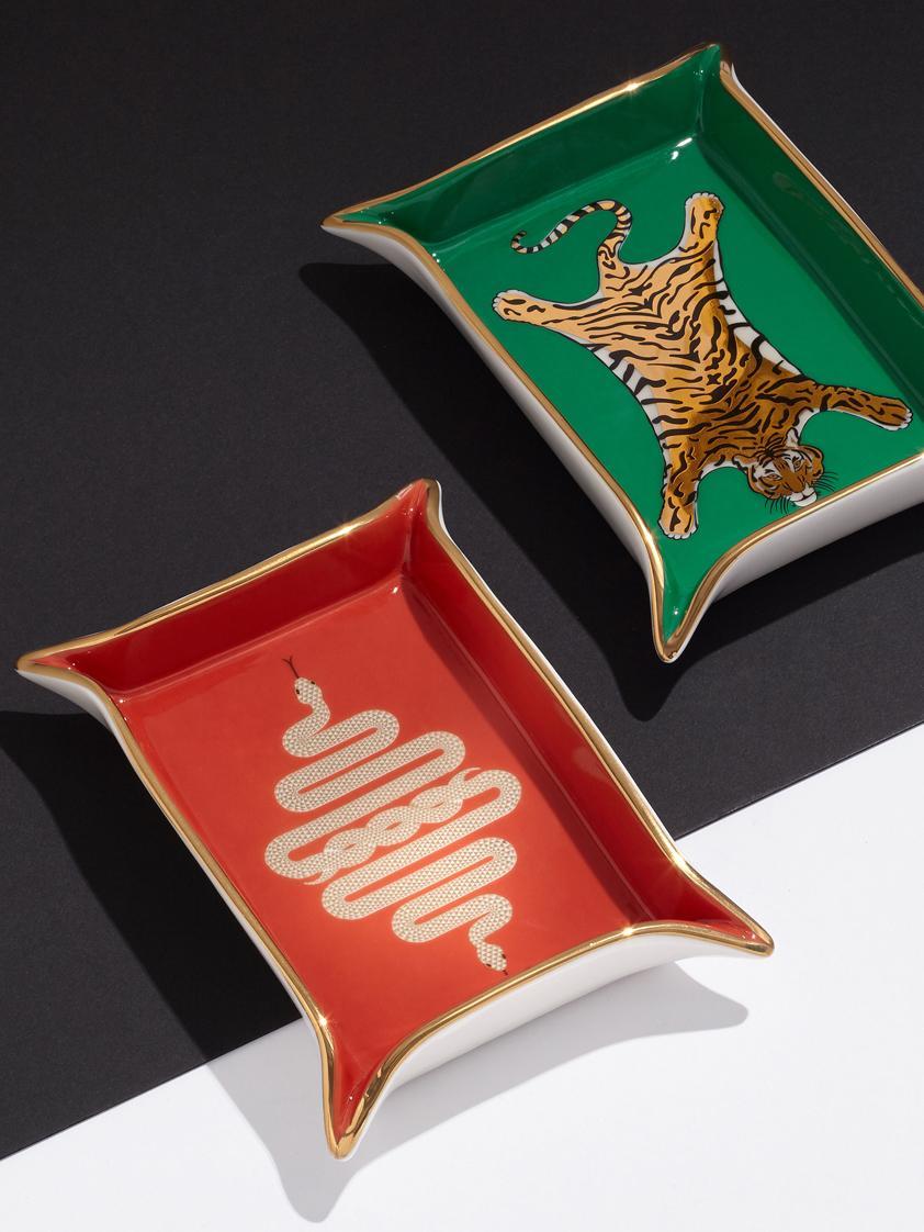 Designer-Schale Snake aus Porzellan, vergoldet, Porzellan, vergoldete Akzente, Innen: Orange, Gold<br>Außen: Weiß, 13 x 18 cm