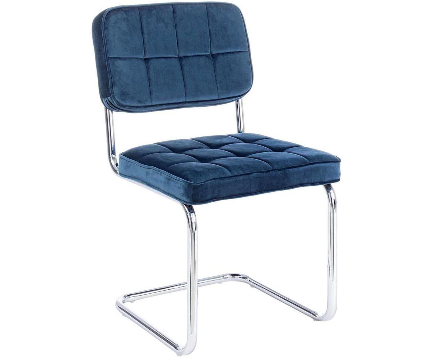 Silla cantilever de terciopelo Iole, Estructura: acero cromado, Tapizado: terciopelo (100% poliéste, Azul, An 46 x Al 84 cm