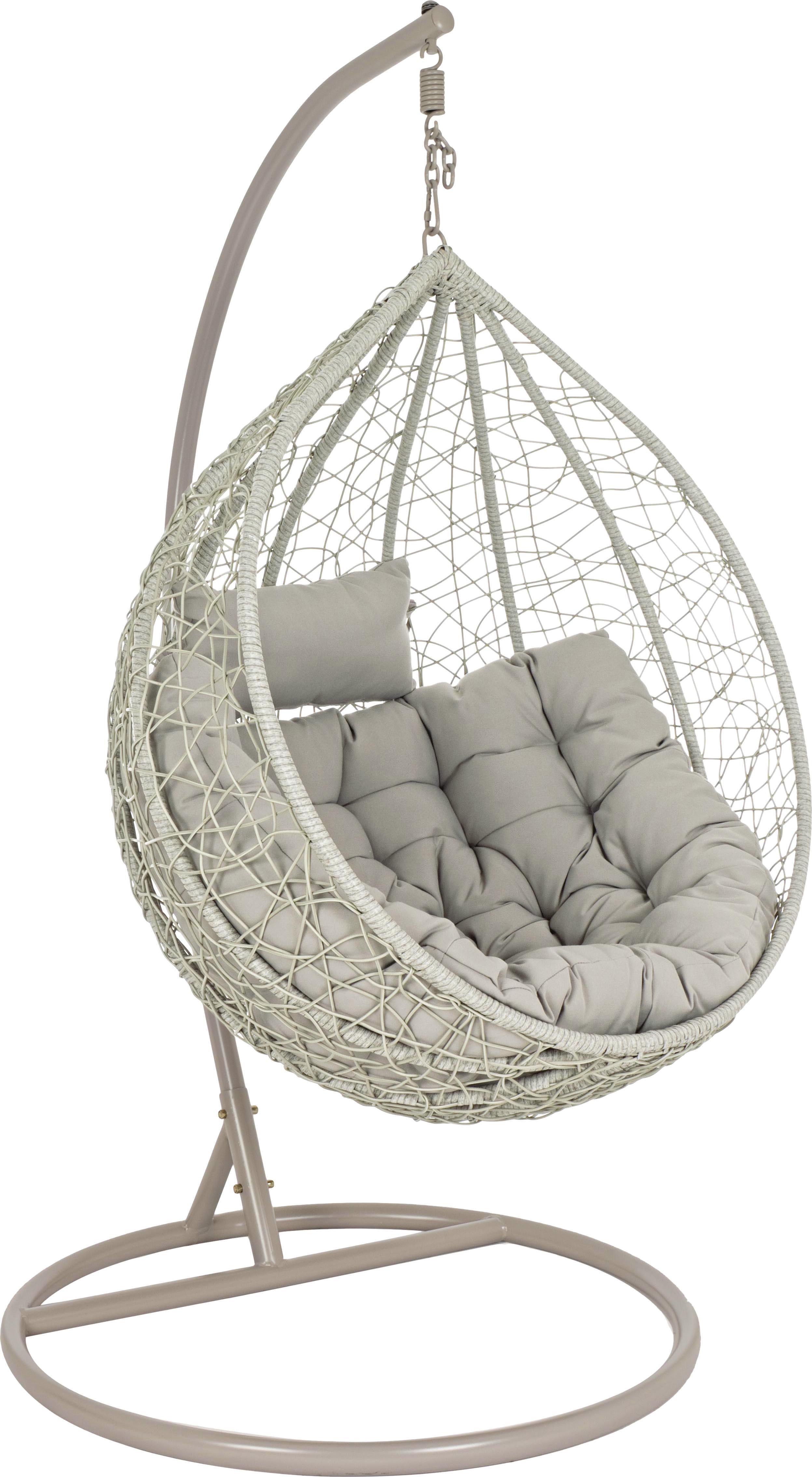 Hangstoel Amirantes met metalen frame, Frame: gepoedercoat staal, Zitvlak: synthetische vezels, Bekleding: polyester, Grijs, crèmewit, Ø 105 x H 198 cm