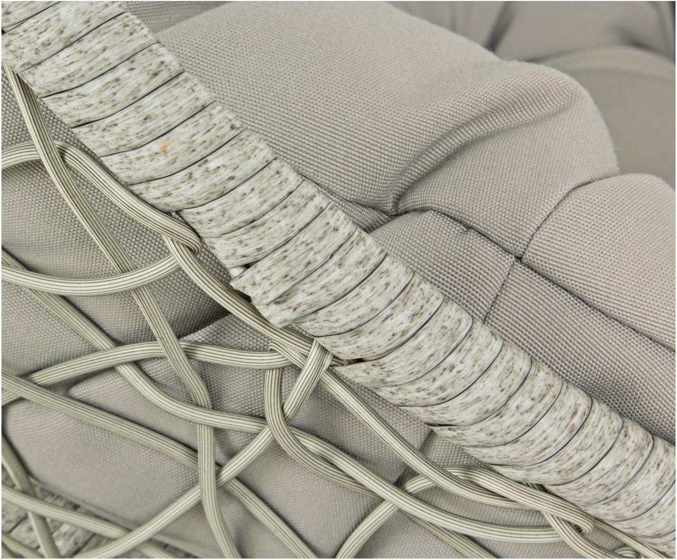 Fotel wiszący z wikliny z metalową ramą Amirantes, Stelaż: stal malowana proszkowo, Tapicerka: poliester, Szary, Ø 105 x W 198 cm