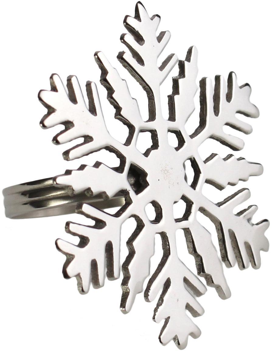 Servetringen Sneeuwvlok, 2 stuks, Metaal, Metaalkleurig, Ø 7 x H 7 cm