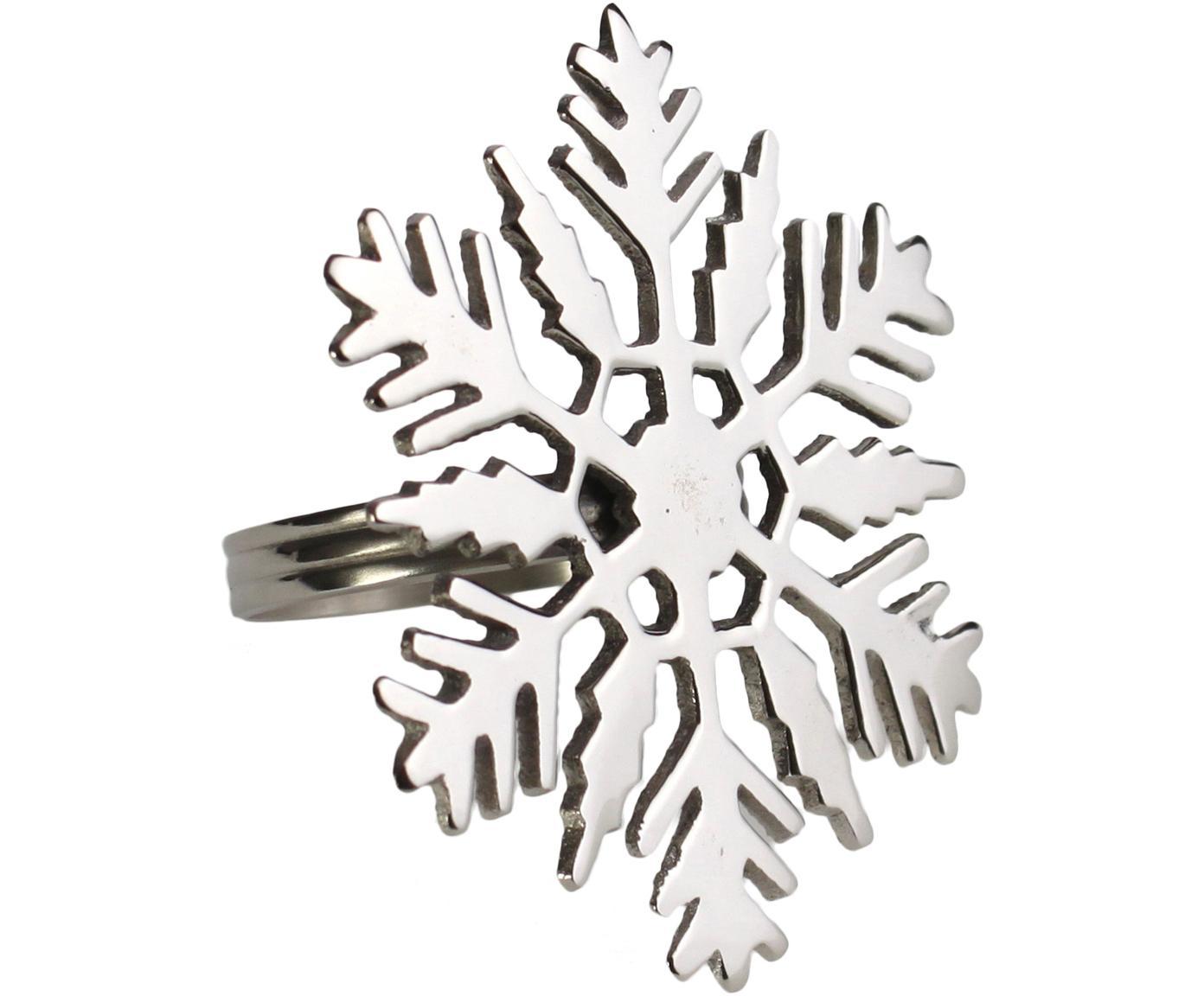 Obrączka na serwetkę Śnieżynka, 2 szt., Metal, Metalowy, Ø 7 x W 7 cm
