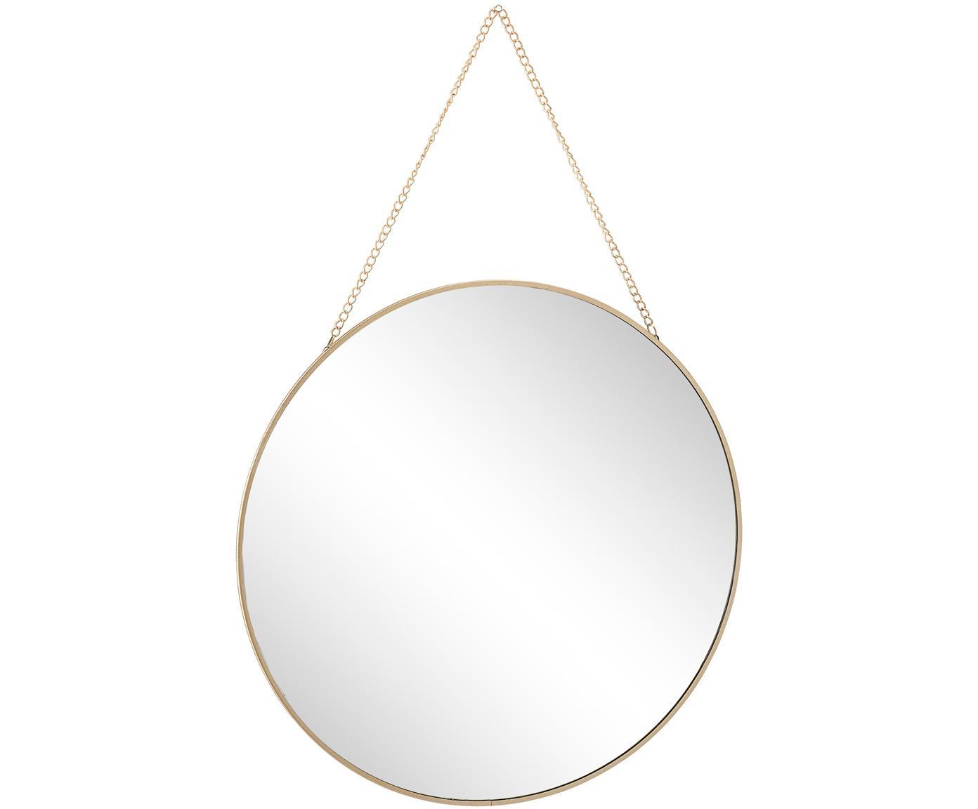 Goudkleurige wandspiegel Lala met metalen ketting, Lijst: gecoat metaal, Messingkleurig, Ø 38 cm