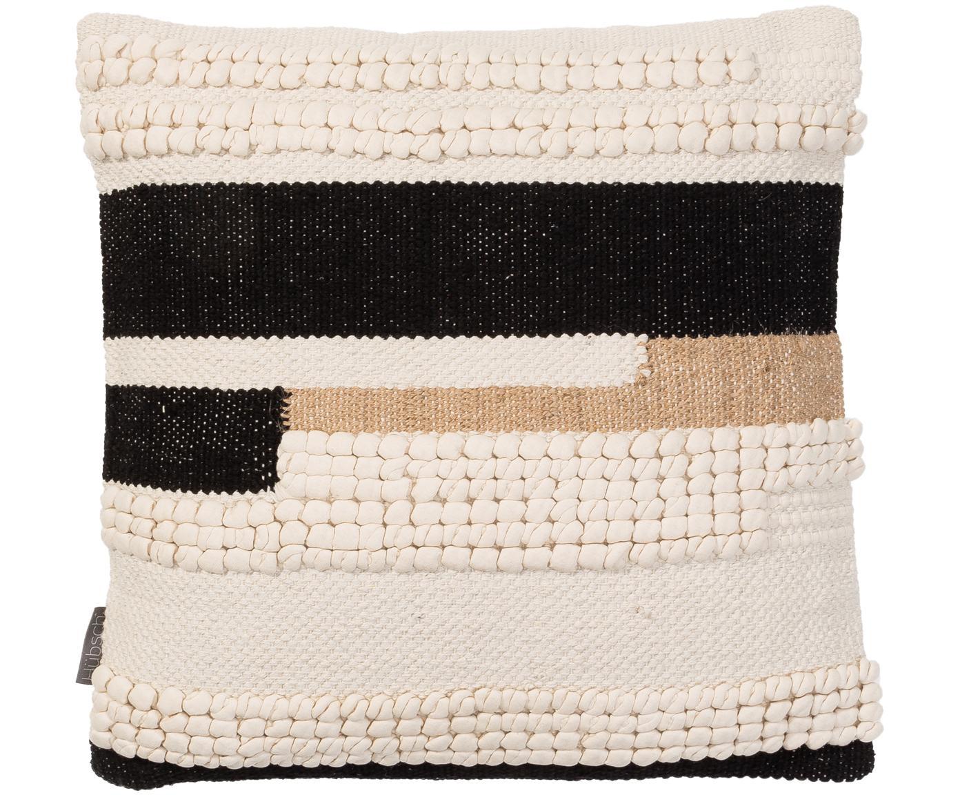 Funda de cojín Winti, 95%algodón, 5%poliéster, Crema, negro, beige, An 45 x L 45 cm