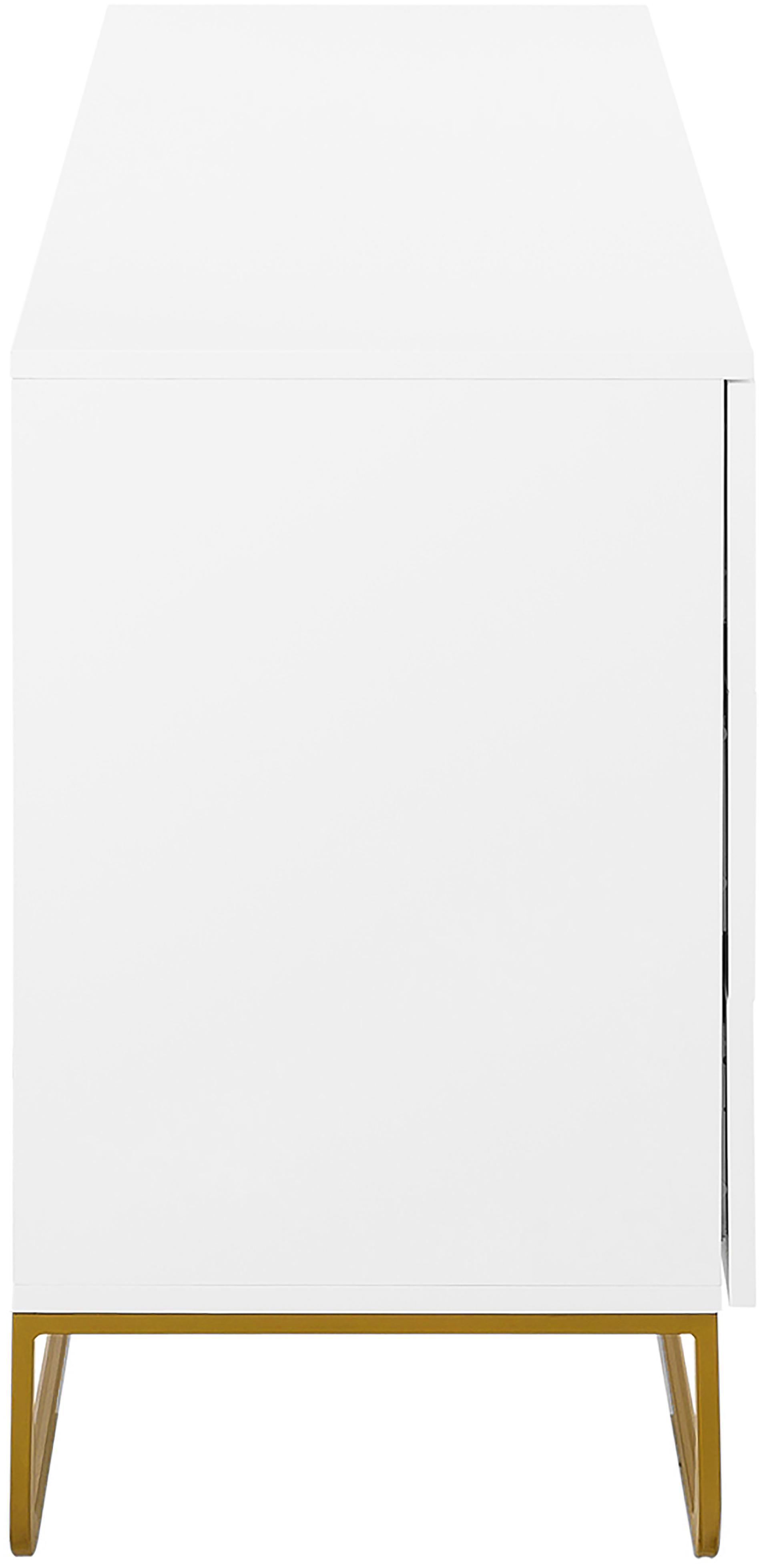Komoda Sanford, Korpus: płyta pilśniowa średniej , Korpus: biały, matowy Podstawa: odcienie złotego, matowy, S 160 x W 83 cm