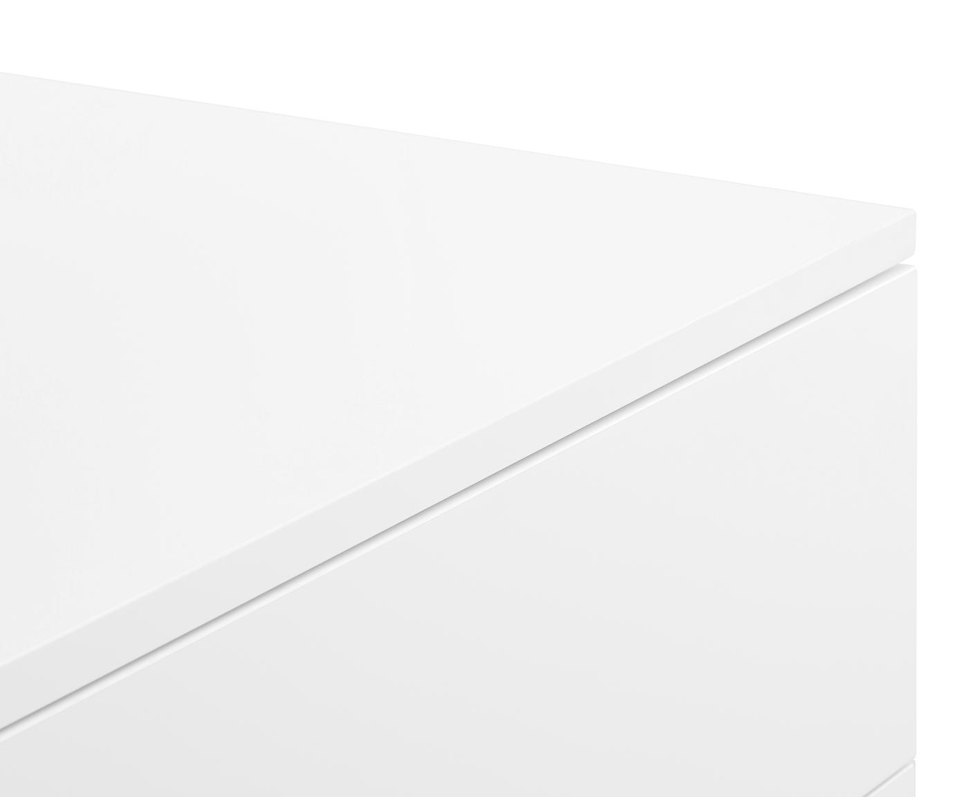 Klassiek dressoir Sanford in wit, Frame: gelakt MDF, Frame: mat wit. Onderstel: mat goudkleurig, 160 x 83 cm
