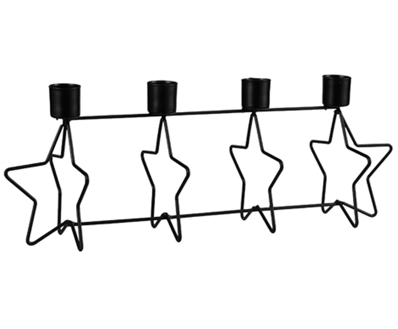 Candelabro in metallo con stelle Stars, Metallo rivestito, Nero, Larg. 34 x Alt. 13 cm