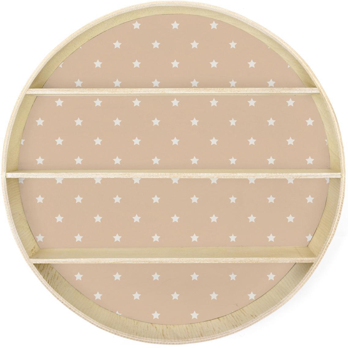 Półka ścienna Stars, Sklejka powlekana, Blady różowy, drewno naturalne, Ø 56 x G 10 cm