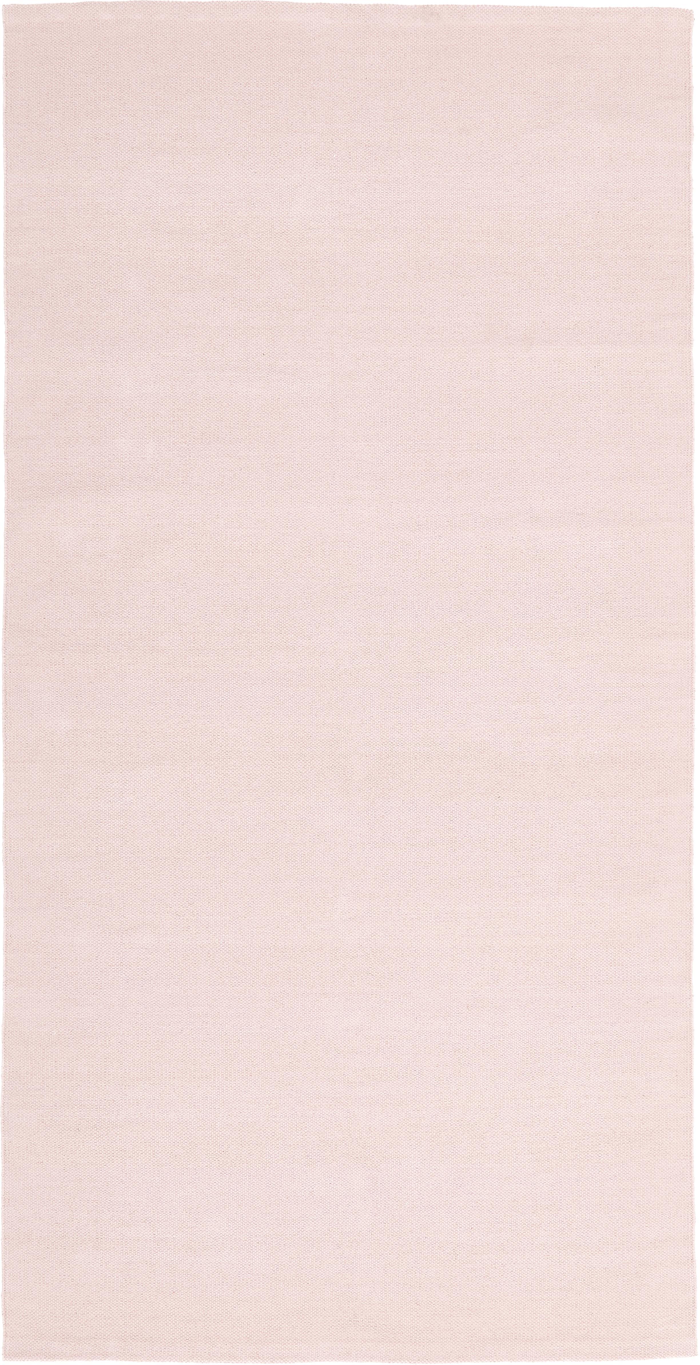 Dünner Baumwollteppich Agneta, handgewebt, 100% Baumwolle, Rosa, B 70 x L 140 cm (Größe XS)