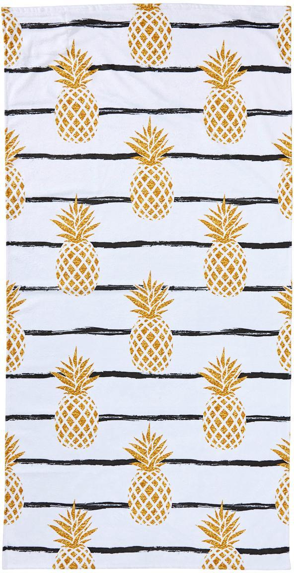 Strandtuch Case Pineapples, Rückseite: Frottier, Weiß, Gelb, Schwarz, 90 x 180 cm