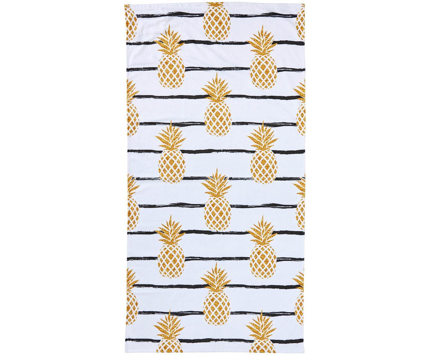 Strandlaken Case Pineapples, Onderzijde: badstof, Wit, geel, zwart, 90 x 180 cm