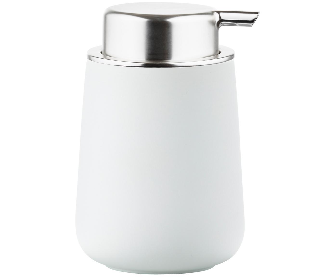 Dispenser sapone in porcellana Nova One, Contenitore: porcellana, Bianco opaco, argento, Ø 8 x Alt. 12 cm