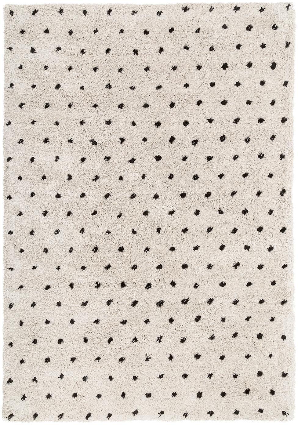 Flauschiger Hochflor-Teppich Ayana, gepunktet, Flor: 100% Polyester, Beige, Schwarz, B 120 x L 180 cm (Größe S)