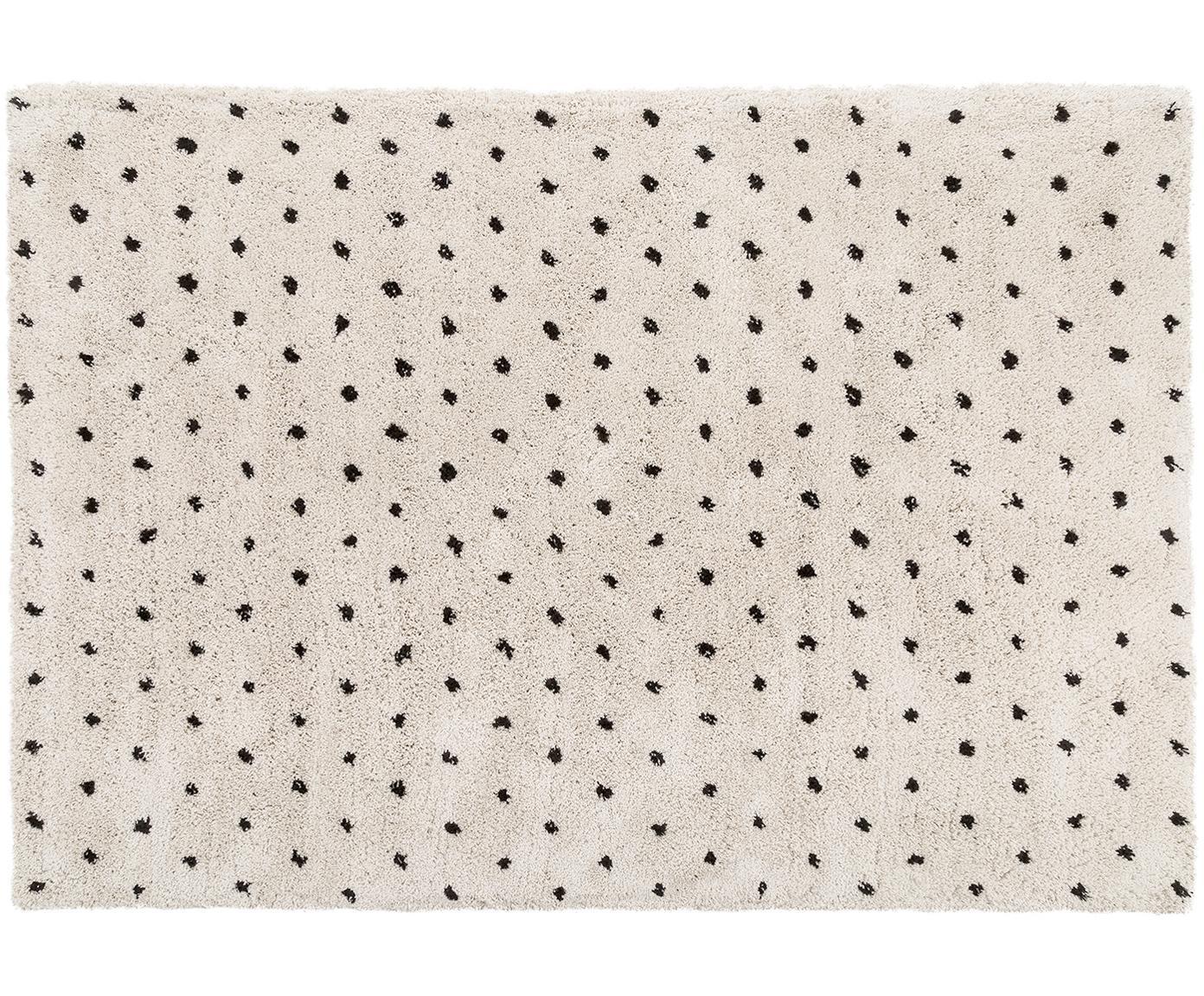 Handgetuft vloerkleed Ayana, Bovenzijde: 100% polyester, Onderzijde: 100% katoen, Beige, zwart, 160 x 230 cm