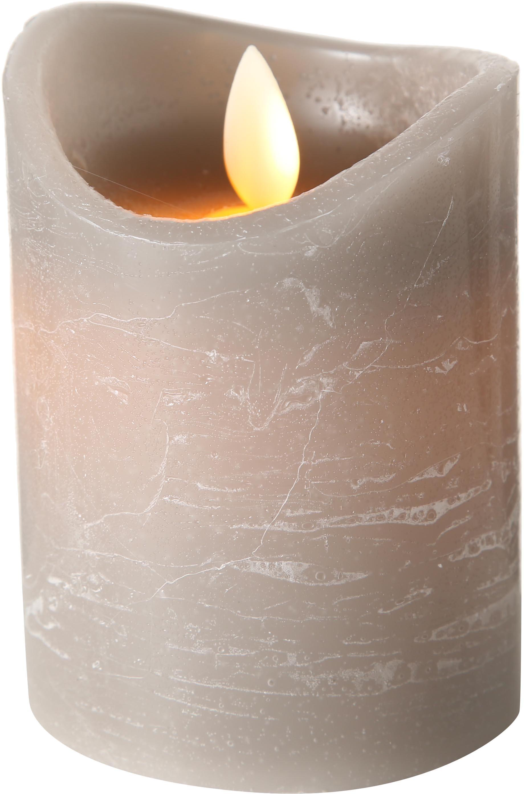 LED Kerze Bino, Grau, Ø 8 x H 10 cm