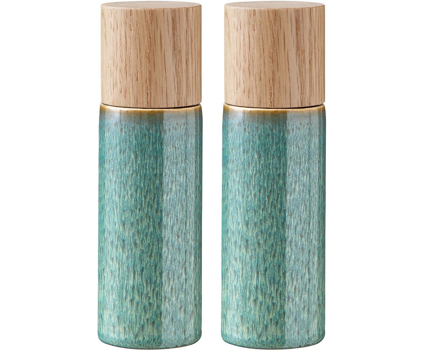 Set macina spezie Bizz 2 pz, Coperchio: legno di quercia, Verde, beige, legno, Ø 5 x Alt. 17 cm