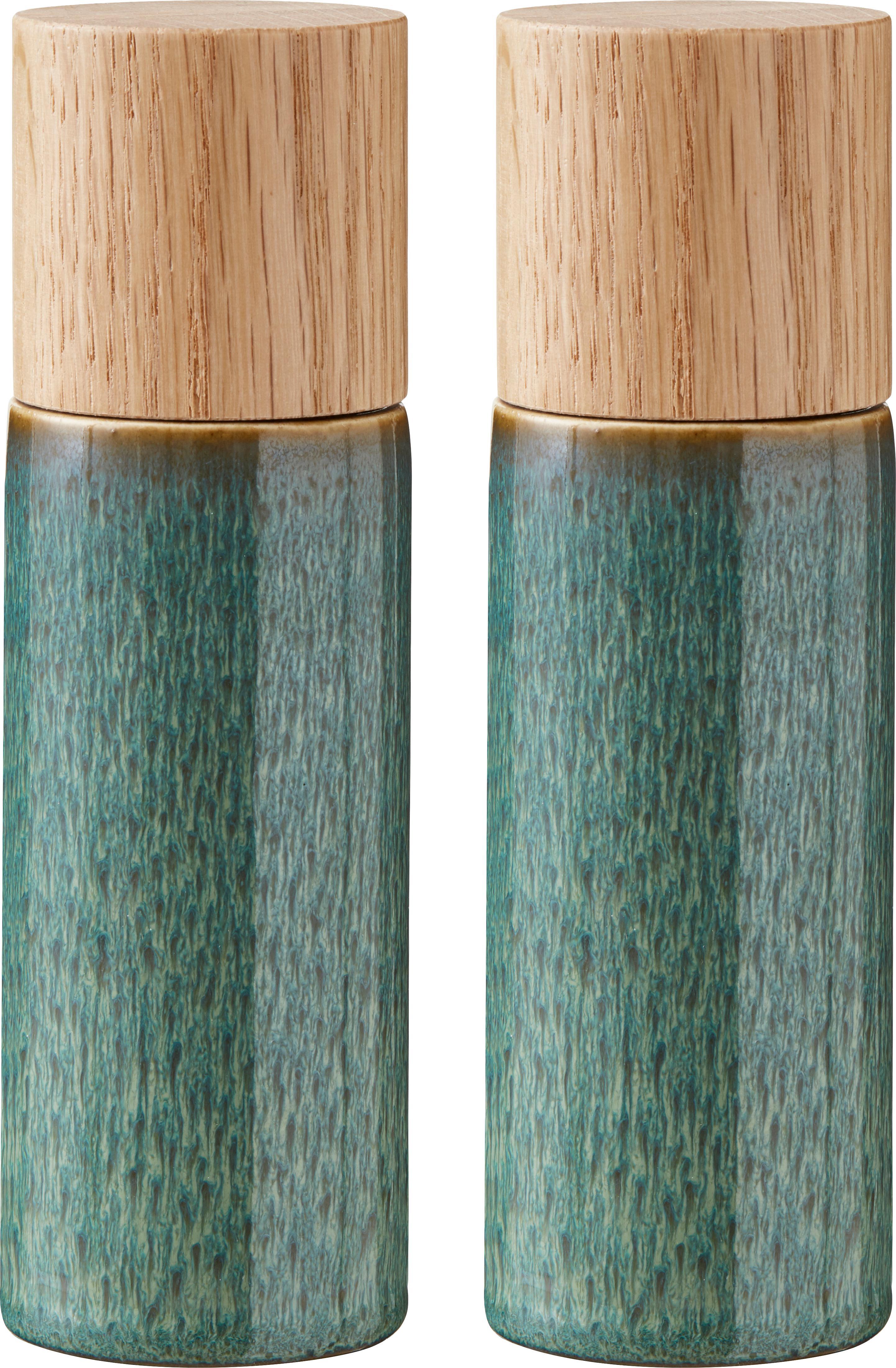 Zout- en peperstrooier-set Bizz, 2-delig, Deksel: hout, Groentinten, beige, hout, Ø 5 x H 17 cm