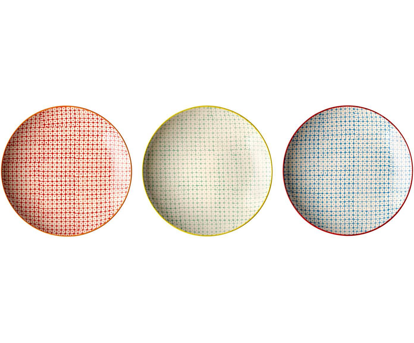 Set de platos llanos Carla, 3pzas., Gres, Multicolor, Ø 25 cm