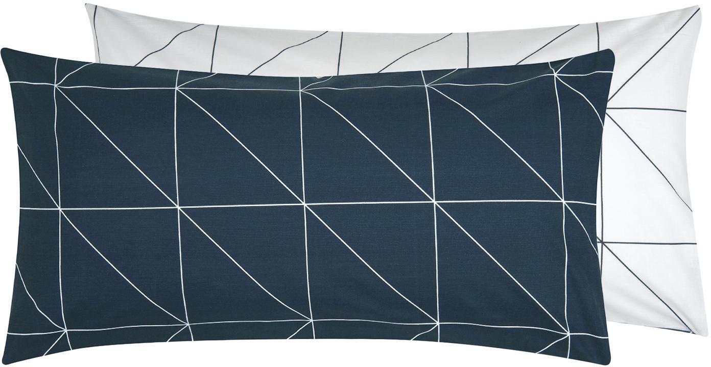 Baumwoll-Wendekissenbezüge Marla mit grafischem Muster, 2 Stück, Webart: Renforcé Fadendichte 144 , Navyblau, Weiß, 40 x 80 cm