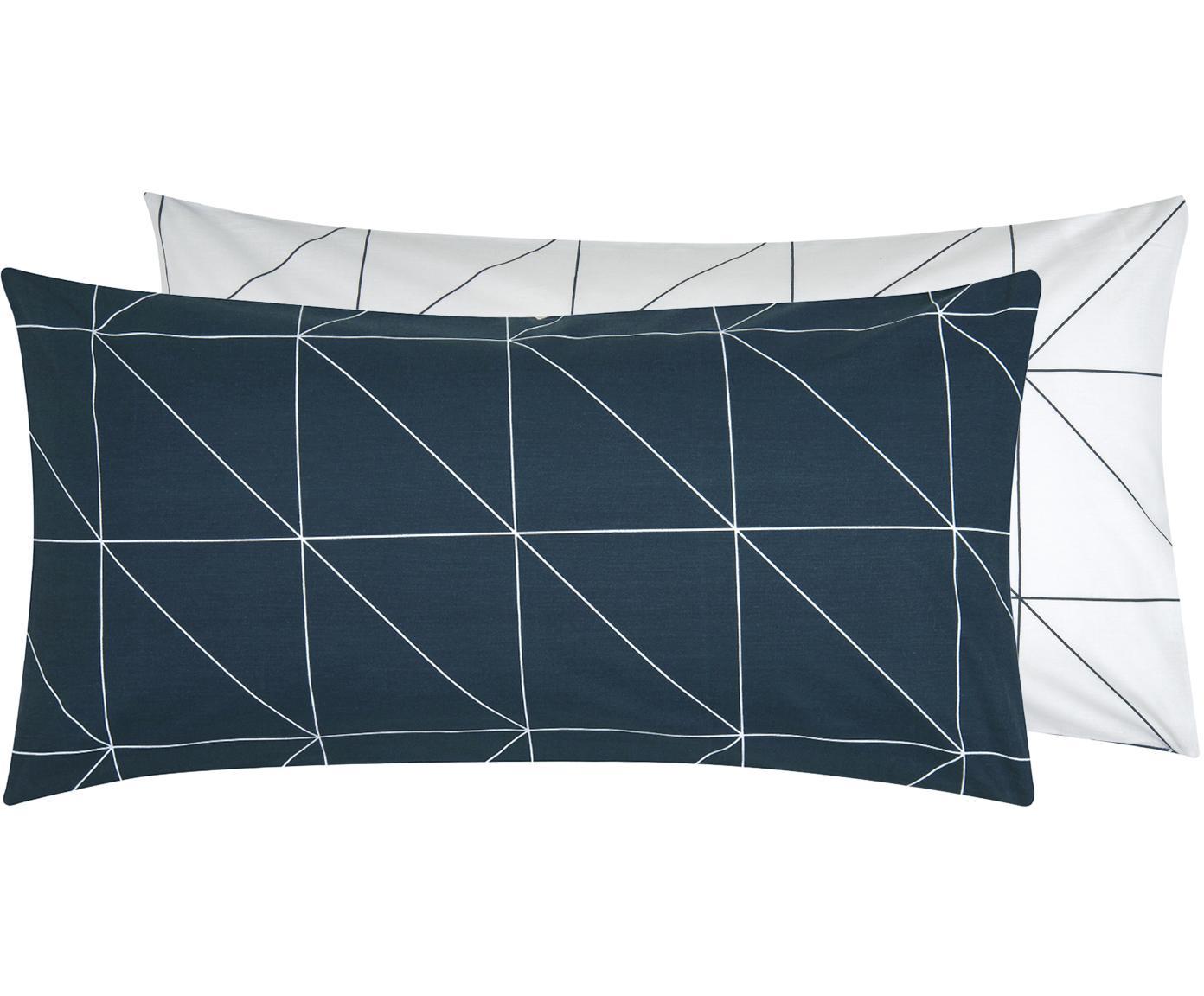 Baumwoll-Wendekissenbezüge Marla mit grafischem Muster, 2 Stück, Webart: Renforcé Fadendichte 144 , Navyblau, Weiss, 40 x 80 cm